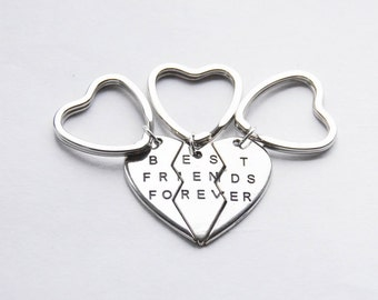 Three Best Friends Keychains 3 BFF Keychains 3 Friendship Key Rings BFF Gifts 3 Best Friends Forever Keyrings Heart Puzzle Keyrings