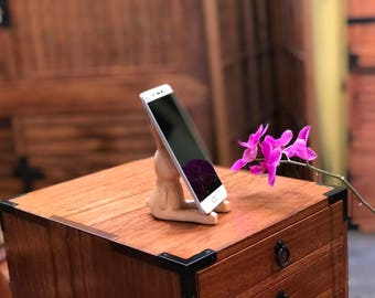 wooden bunny cell phone stand