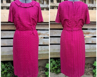 Vintage 1960s Wine Raspberry Fitted  Fully Lined Textured Polyester Wiggle Dress Jackie Kennedy Style