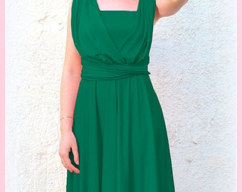 Tailored to Size & Length Infinity dress in green color  Bridesmaid  dress with matching tube top