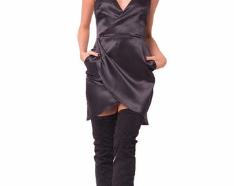 Night is Young Black Satin Overlay Dress