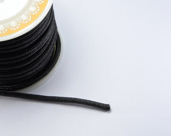 8ft (2.43m) (2.66 yards) 3mm Nylon Braided Cord in Black, Chinese Knotting Cord, Spooled, Beading String for Beads #SD-S8397