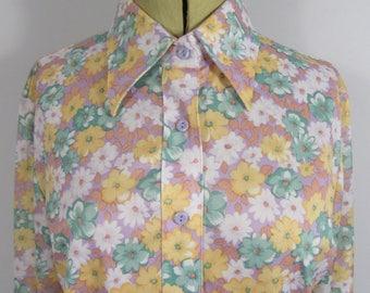 1970s DEBENHAMS Floral Ladies Blouse-UK16
