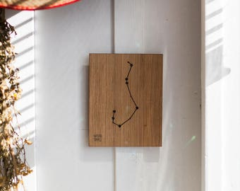 Scorpius Constellation Picture - Scorpio - Zodiac - Wooden handmade - Woodworking - Wood - Sign - Wall Art- Custom - Gift - 11 cm x 14 cm