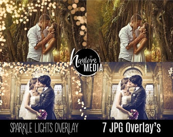 Digital Sparkles Photoshop Overlay - Bokeh Light Effect for Photographers - 7 Versions - Instant Download