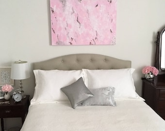 "Unavailable-Original Abstract Acrylic Painting with Glitter on Canvas, 24""x36"" Pink White Silver Black, Pink Bedroom, Pink Nursery, Impasto"