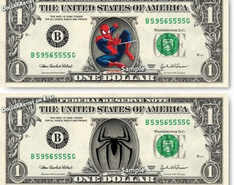 Spiderman on a Real Money - Disney Handmade Custom Dollar Bill Art - Logo