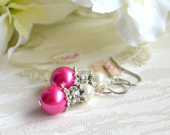 Fuchsia pink earrings Hot pink Wedding jewelry Bridesmaid earrings Jewelry with rhinestones Hot pink Bridesmaid gift Fuchsia pink jewelry
