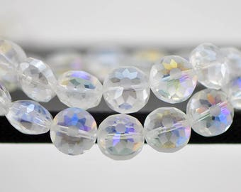 Frosted Crystal Glass Round Coin beads 14mm, Faceted Matte Clear AB-(TS59-8)/ 50 beads