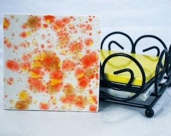 Drink Coasters with stand - Citrus Splash Square Coaster Set