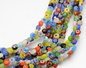 set of 20 flat glass milleflori beads 6 x 3 mm