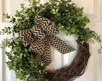 SPRING BOXWOOD WREATH,Summer Wreath,Chevron Wreath,Year Round Wreath, Burlap Wreath, Grapevine Wreath,Fall/Winter Wreath,Front Door Wreath