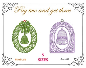 Embroidery Christmas design patten bell