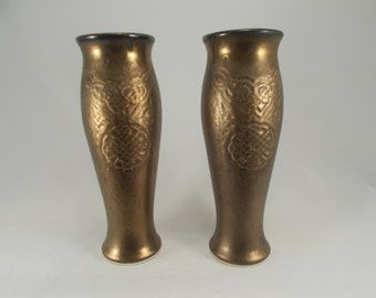 Pair of Celtic Knotwork Pilsner Beer Glass or Dinnerware Tumbler- Bronze glaze - Original Fantasy Art  Pottery- Home Decor- Kitchen