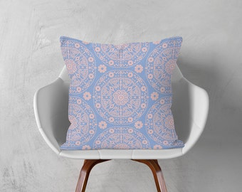 Bohemian Throw Pillow Blue Pink Cushion Floral Decorative Pillow Accent Pillow Cover Modern Home Decor 16x16 18x18 20x20 Boho Pillow Case