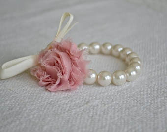 Grace: Ivory Pearl Corsage Bracelet with Ivory Ribbon and Dusty Rose Flower - Little Girls or Adult