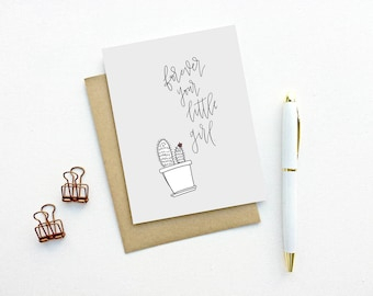 Father's Day Card - Forever Your Little Girl | Father's Day card,  Mother's Day card, Cactus Card, Succulent Card, Plant Lady, Mom, Dad