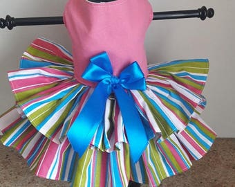 Dog Dress Pink with colorful stripes