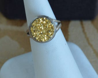 Gold Druzy Sterling Silver Ring, Size 6 (AJ4)