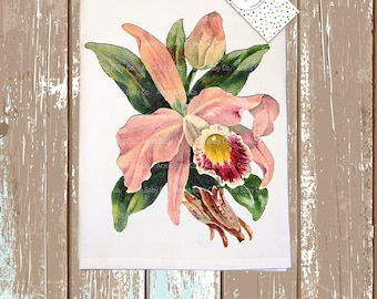 Beautiful Orchid Mid-Century Kitchen Tea Towel. Chose from peach, pink, or white orchids.