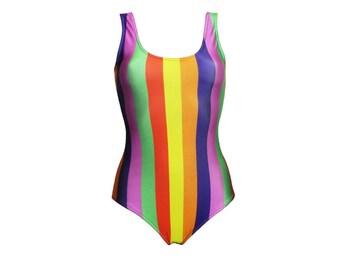 Funky Multicoloured Rainbow Vertical Stripes Swimsuit Bodysuit
