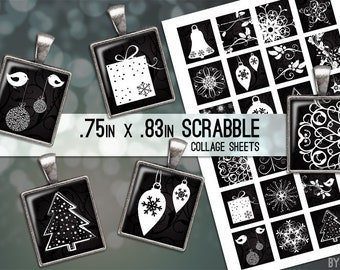 Collage Sheet Digital Scrabble Tile Images .75x.83  Christmas Black White on 4x6 and 8.5x11 Download Sheets for Glass Resin Pendants