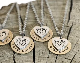 Midwife Doula Nurse Gift Necklace - Hand Stamped Disk, Midwife, Nurse Midwife, Doula, OB Nurse, Nicu Nurse