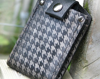 Men's Billfold Leather Wallet - Slim Jim Money Clip Wallet - Houndstooth Smoke Black - Made To Order