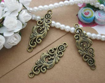 Vintage Metal Floral Charms Pendants 2 Loops Antique Bronze Silver Jewelry Findings Supplies Bracelet Necklace Making A2068