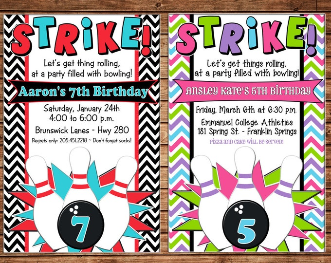 Boy or Girl Bowling Birthday Party - Can personalize colors /wording - Printable File or Printed Cards