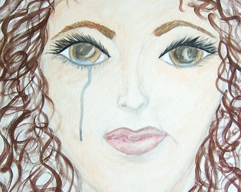 Original Female Portrait, Crying Woman Painting, Acrylic Original Painting, Original Painting, Girl Crying Painting, 16x20