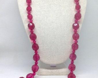 Vintage Estate Long Fushia Pink Textured Beaded Gorgeous Necklace