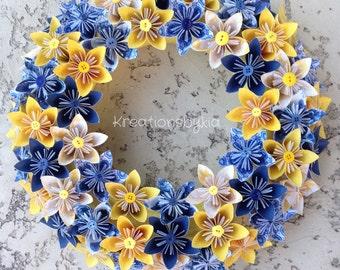 Origami Paper Flower Wreath / origami, paper flowers, paper wreath, origami wreath, kusudama, kusudama wreath, centerpiece, flower wreath