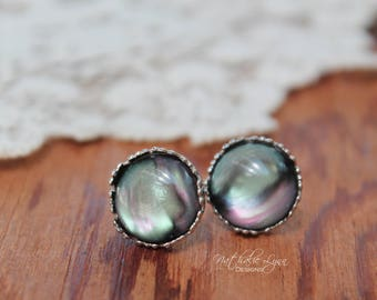 Black Opalescent Earrings, Galaxy Earrings, Milky Way Earrings, Opalescent Earrings, 12 mm Stud, Silver Earrings, Northern Lights Earrings