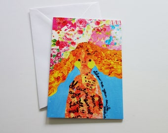 Show Me Your Smile - A6 Blank note card - illustration by YOSHIE.