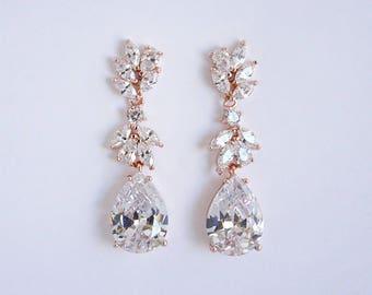 Mila - Rose Gold Bridal Earrings, Wedding Earrings, Teardrop Earrings, Crystal Drop Earrings, CZ Chandelier Earrings, Wedding Earrings