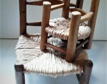 Vintage Wood and Twine Chairs