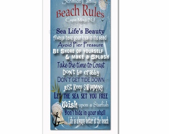 Family Beach Rules w/ personalization