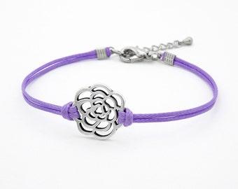 Flower Bracelet, Lilac Bracelet, Rose Bracelet, Friendship Bracelet, Silver Rose Bracelet