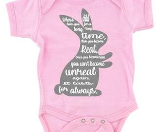 """Adorable Infant """"The Velveteen Rabbit"""" Quote Creeper Onesie"""