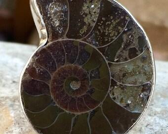 Vintage Sterling Ammonite Ring