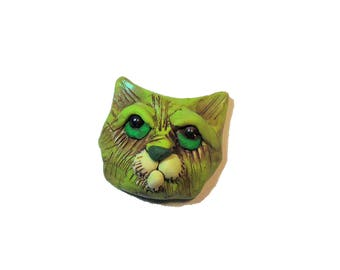 Green Cat Magnet - Polymer Clay Magnet - Refrigerator Magnet - purple cat Brooch - Kitten jewelry