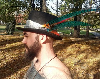 Burninjungle-Cylinder hat -Steampunk hat - Vittorian hat - Freak hat- feathers hat - Festival hat - Burningman hat -Festival hat