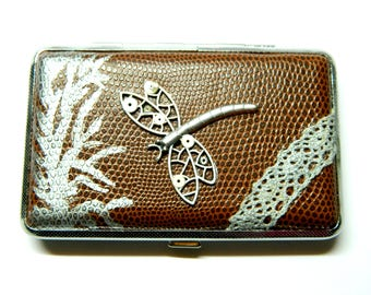Fantasy dragonfly & lace, brown embossed leatherette cigarette tin, silver business card holder, credit card cases unique gift for woman man