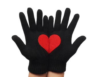 Red Heart Gloves, Christmas Gift for Her or Him, Valentine's Gift, Special Gif Romantic Gloves, Romantic Gift, Black Gloves