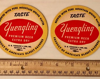 2 Vintage Yuengling Premium Beer Extra Dry Beer Coasters Pottsville  PA Free Shipping