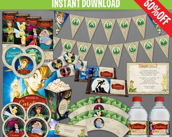 Disney Peter Pan Birthday Party Collection - Instant Download and Edit with Adobe Reader - Peter Pan Birthday - Peter Pan Party Decor