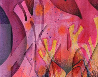 Instantl Download - Mixed Media Illustration of Flower on Abstract Background