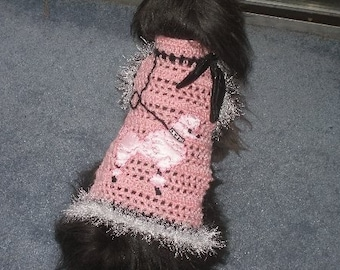 AT THE HOP - Dog Sweater - 5 - 20 Lb Dogs -avail with or without fur - Made to order