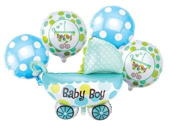 Baby boy5 piece mylar balloon bouquet, baby boy mylar balloon, its a boy balloons, baby shower foil balloon